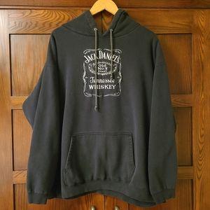 Jack Daniel's Hoodie Sweatshirt Black Drawstring Embroidered Logo Size XL/XXL